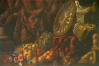 nature morte aux pieces d'orfevrerie et aux fruits by benedetto fioravanti