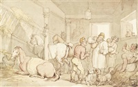 drinking in a stable by thomas rowlandson
