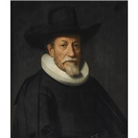 portrait of a gentleman with a white goatee, wearing a black suit with a molensteenkraag and a black hat by dirck dircksz van santvoort