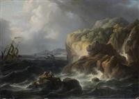 marins sur un rocher par une mer agitée by alexandre jean noel