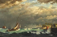 sailing boats off a harbour in stormy weather. presumably from the island of ærø by carl (jens erik c.) rasmussen