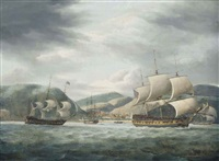 an east indiamen lying at anchor off the island of st. helena with other east indiamen getting underway by thomas luny