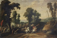 a cavalry skirmish, before an extensive landscape by jan wildens