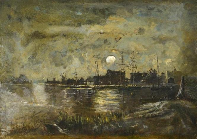 clair de lune sur un canal, hollande by johan barthold jongkind