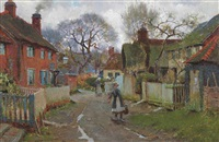 village scene by blandford fletcher