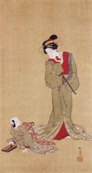 courtesan and kamuro by japanese school-ukiyo-e (19)