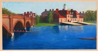 charles river eliot bridge and harvard boathouse, cambridge, ma by emily e. young