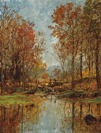 autumn landscape with bridge by jasper francis cropsey