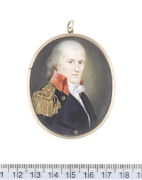 a naval officer, wearing navy blue coat with brass buttons bearing anchors and red standing collar edged with gold embroidery, gold epaulette, white chemise, stock and knotted cravat by charles willson peale