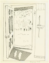 sketch for july; view of the boathouse, maine and doorway (3 works) by fairfield porter
