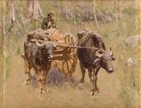 два буйвола, запряженные в арбу by nikolai nikanorovich dubovskoy