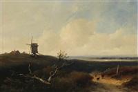 paysage accidenté animé d'un berger au mouton sur un chemin champêtre près d'un moulin à vent by johannes franciscus hoppenbrouwers