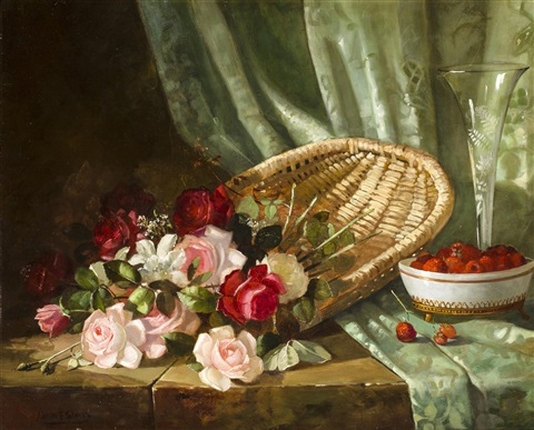 still life with roses and rasperries by abbott fuller graves