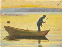 fisherman from skagen in a boat at sunset by michael peter ancher