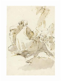 the holy family resting on the flight into egypt, with two angels kneeling and offering food by giovanni battista tiepolo