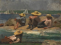children on the beach (watching the tide go out; watching the boats) by winslow homer