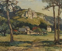 farm buildings beneath a rocky outcrop by leonard richmond