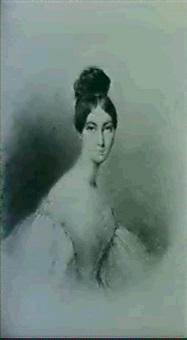 portrait de la marquise d'harcourt, nee ste. aulaire by alexandre m. de valentin