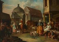 scène de marché dans une ville by etienne jeaurat