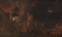 l'incendie d'une ville près d'une tour moyenâgeuse by daniel van heil