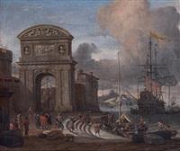 port italien avec un arc de triomphe by abraham jansz storck