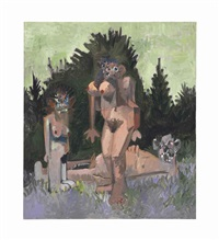 three figures in a garden by george condo