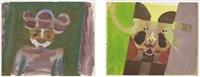 tres bolas; hombre sonriendo en verde (2 works) by francisco toledo
