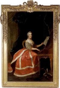 portrait de marie-louise-thérèse-victoire de france dite madame victoire, jouant du clavecin by anne baptiste nivelon