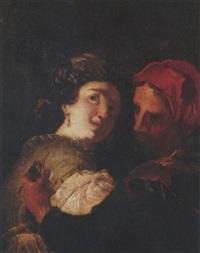 a man stealing a lady's purse by johann liss