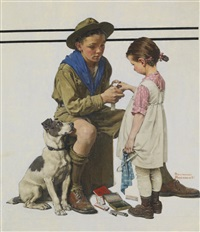 boys and girls first aid week (scout bandaging girl's finger) by norman rockwell