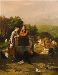 couple d'amoureux dans la basse-cour by eugene rémy maes & jan david col