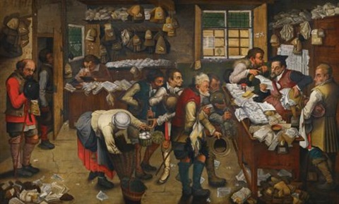 the village lawyers office by pieter brueghel the younger