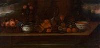 stilleben med frukt, glass og blåhvitt porslen by peder pedersen aadnäs