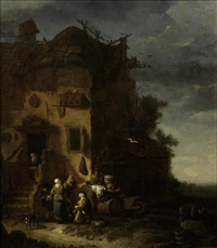 a peasant family before a farmhouse by egbert lievensz van der poel