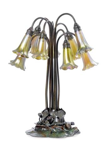 lampe de table ten light lily by tiffany studios