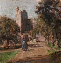 italian landscape with ruins and woman on the road by julius paulsen
