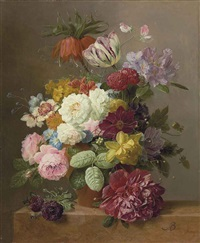 roses, peonies, tulips, narcissi, convulvulus and other flowers in a vase on a marble ledge by arnoldus bloemers