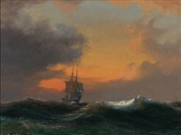 seascape with a sailing ship in rough sea at sunset by daniel hermann anton melbye