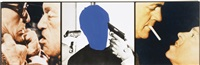voided person with guns at head (flanked by confrontations) by john baldessari