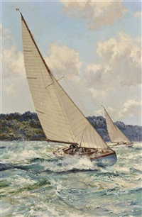 one-designs racing inshore and out of the tide off the isle of wight by montague dawson