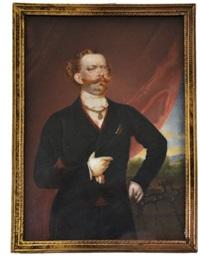 portrait du prince de piémont, futur victor emmanuel ii en costume civil by luigi gandolfi