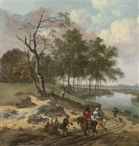 a river landscape with elegant travelers and a beggar in a dune landscape by jan wijnants and johannes lingelbach