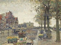a flower barge on the canal by hans herrmann