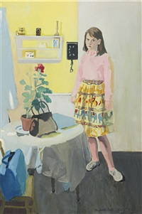 girl and geranium by fairfield porter