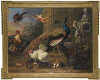 a peacock and peahen, together with a cockerel and other poultry, a swallow, pigeon and hoopoe beside a fountain in a garden, all disturbed by the arrival of a falcon by melchior de hondecoeter