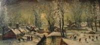 village animé sous la neige by jean raffy le persan