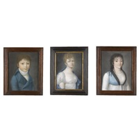 portraits: a boy and two young women (3 works) by italian school-piedmont (19)
