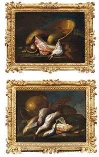 langouste, rascasse, rougets et cruche en cuivre (+ poissons, coquillages et chaudron de cuivre, various sizes; 2 works) by elena recco