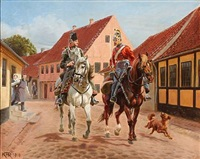 dragon officer and a guard hussar in a street in aarhus, denmark by karl frederik christian hansen-reistrup