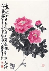 花卉 立轴 设色纸本 by wu suqiu and huang zhou